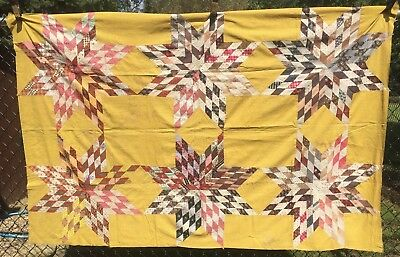 Antique Vintage Late 1800s Early 1900s Stars Quilt Top Hand Piecing NICE 52x78