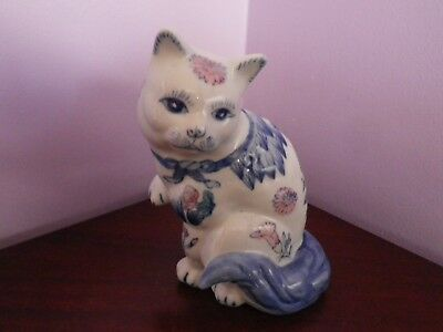 Fab Vintage Chinese Porcelain Cat Figure Decorated With Flowers 16.5 Cms Tall
