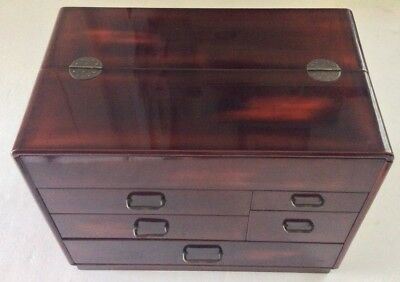 Antique Japanese Faux Tortoise Shell Look Lacquer Wood Jewelry Cabinet Chest Box