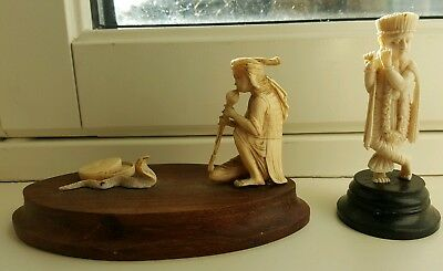 antique hand carved snake charmer and flute player insence holder