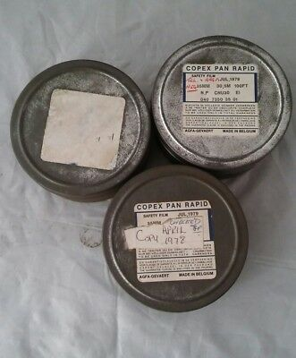 3 x Vintage Small Metal Film Reel Cans Cannister Movie Coped Pan Rapid Belgium
