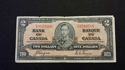 1937 Bank of Canada $2 Canadian Money  Good Cond.  # Z/B 9549166 Coyne/Towers