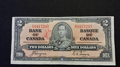 1937 Bank of Canada $2 Canadian Money  Excellent Cond # D/R 9417297 Coyne/Towers