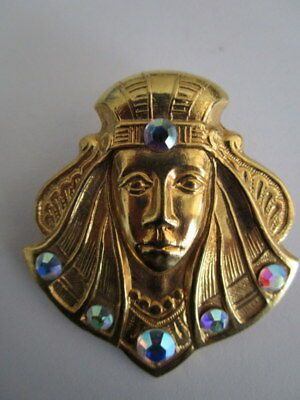 Vtg Gold Tone Egyptian Revival Boy King Tut Pharaoh pin brooch rhinestones