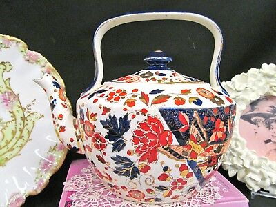 Rare RIDGWAYS Imari OLD DERBY teapot with handle 1890's cobalt painted butterfly