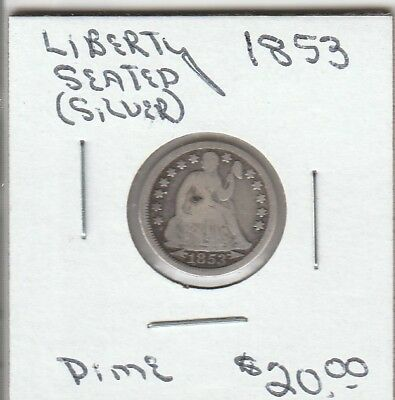 1853 - Liberty Seated SILVER Dime - Good