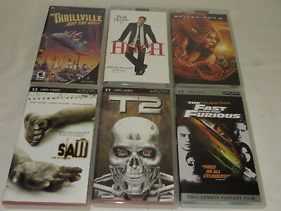 # Lot Of 6 Umd Videos For Psp Saw, T2, Thrillville, Fast & Furious, Spiderman #