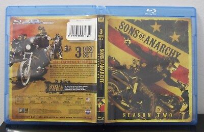 Used Sons Of Anarchy Season Two Blu-Ray 3 Disk Set Free Shipping Soa