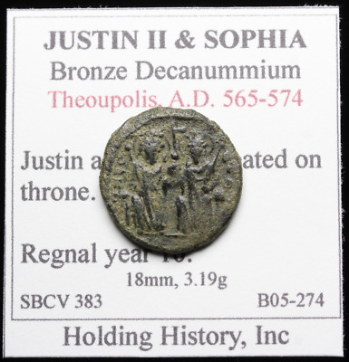 Justin II and Sophia AE Decanummium, Large I, Year 10