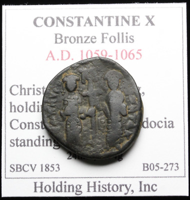 Constantine X with Eudocia AE Follis, Christ standing