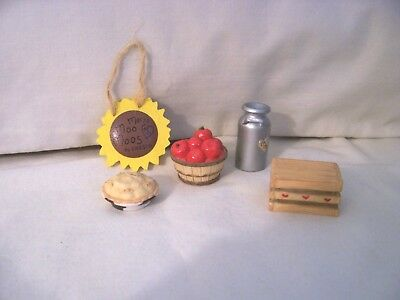 Mary's Moo Moos Mini Accessories Pie, Milk Can, Tub of Apples, Crate & Sunflower