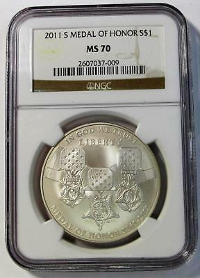 2011-S U.S. Silver Dollar  * Medal Of Honor *  NGC MS70  *No Reserve *