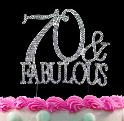 70 And Fabulous Silver Crystal Cake Toppers Bling 70th Birthday Topper