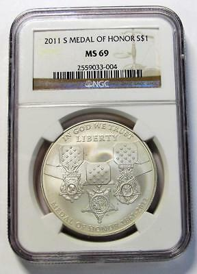 2011-S U.S. Silver Dollar  * Medal Of Honor *  NGC MS69  *No Reserve *