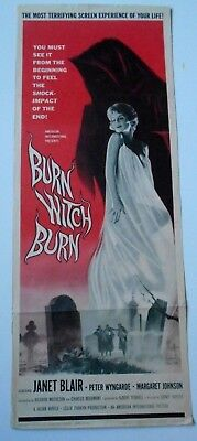 """Burn Witch Burn horror 14"""" x 36"""" movie poster Night of the Eagle witchcraft"""