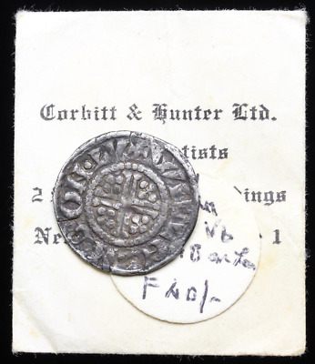 ENGLAND. John Lackland Hammered Silver Penny, Willem, Class 5b, Old Ticket