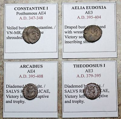 ROMAN IMPERIAL. Lot of 4 nice quality bronzes, Eudoxia, Constantine, and more