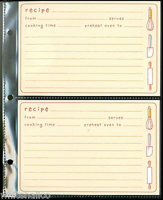 Hallmark 3-Ring Album Organizer Recipe Book 8 Pages + 16 Cards Kitchen Tools