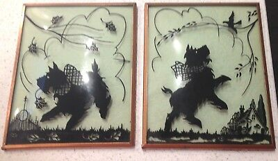 Vintage Pair Of Scottie Dog Reverse Painted Curved Glass Picture