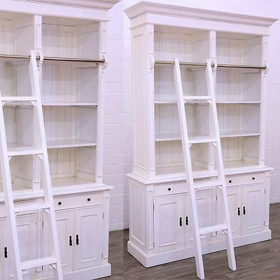 BIG OPEN BOOKCASE BÜCHERSCHRANK + ANLEGELEITER ANTIK-weiß BÜCHER REGAL SCHRANK