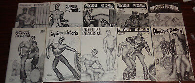 LOT of 10 unused PHYSIQUE PICTORIAL vintage gay magazines TOM of FINLAND covers