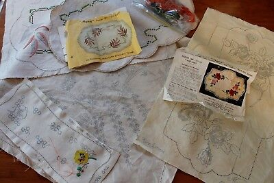 Vintage Lot  Myart & AGM Stamped Traced Linen - Unfinished Unworked Embroidery
