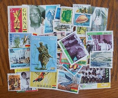 30 used all different Ghana postage stamps