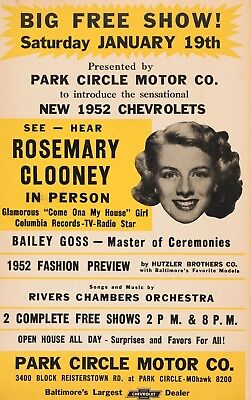 """Rosemary Clooney MOHAWK 16"""" x 12"""" Photo Repro Concert Poster"""