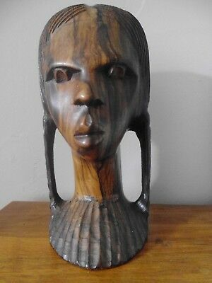 """Vintage heavy African hand carved wooden head , girl/man with plaits , 8.5"""" high"""