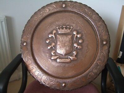 Vintage Basque Country heraldic arts and crafts copper tray signed R Boisan 20in