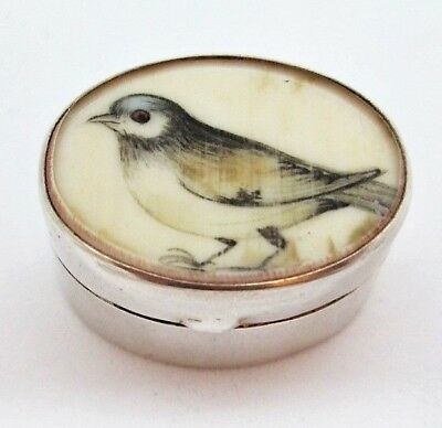 Solid Silver Pill Patch Trinket Box Pot Decorated with Finch Not Scrap 10.9g