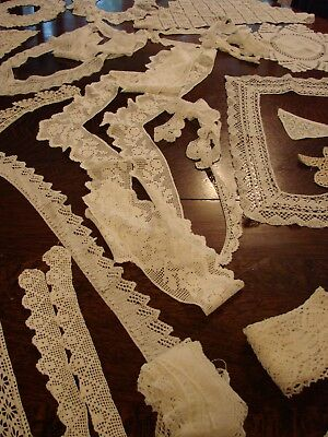 Assorted lot of shaped vintage hand crochet white cotton lace, craft,