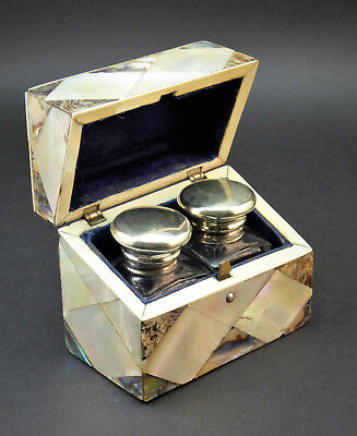 c1880, ANTIQUE VICTORIAN 19thC MOTHER OF PEARL ABALONE GLASS SCENT BOTTLE CASKET