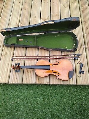 Antique Violin With 2 Bows Very Old For Restoring