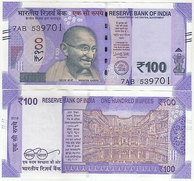 100 Rupees India Banknote New Issue New Pattern 2018 Latest Issue In Unc.....