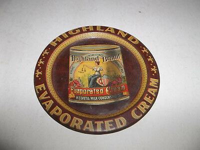 "Vtg Patriotic Advertising Tip Tray Highland Evaporated Cream - 3 1/2"" Diameter"