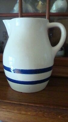 Blue Banded Pitcher R.r.p Co. Pottery Roseville Ohio 3303H