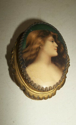 LOVELY Antique Vtg Art Nouveau Celluloid Top Casket Vanity Trinket Box w Mirror