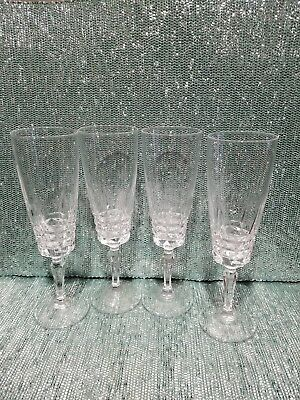 24% Leaded Crystal Champagne Flutes Cristal D'Arques-Durand Pompadour  Set Of 4