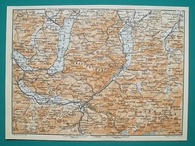 AUSTRIA Attersee Bad Ischl & Environs + Alps Panorama - 1931 BAEDEKER MAP