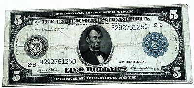 Federal Reserve Large Note $5 New York Series 1914/Fine+