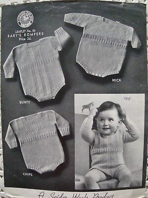 Spider wools No 56 Baby's Rompers Vintage Knitting Pattern Ages 8-14 Months