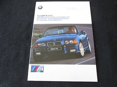 1998 BMW M3 Coupe Sedan Convertible E36 & M Roadster Catalog '98 Sales Brochure