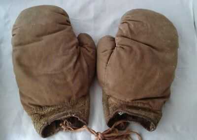 Vintage Canvas Childs Boxing Gloves  Training Gloves Made in England - As Seen