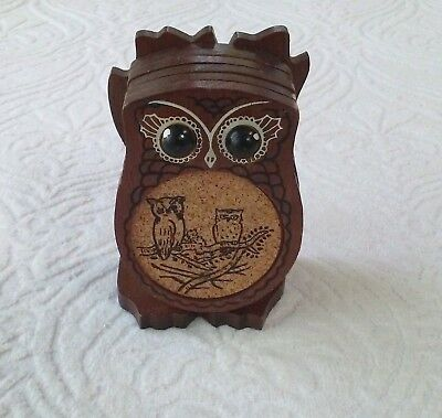 Wood and Cork Owl Coasters with Wooden Holder Set of 6