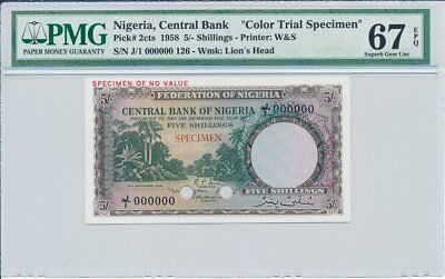 Central Bank Nigeria  5 Shillings 1958 Color Trial Specimen PMG  67EPQ