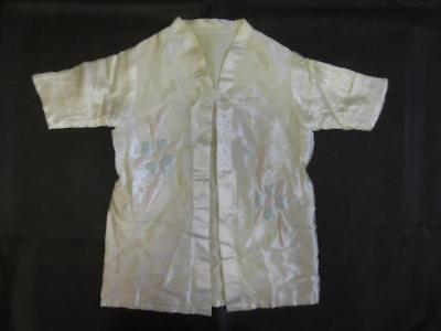 Vtg 40s BABY CHILD WHITE SATIN DRESSING ROBE House Coat Quilted Flower Applique