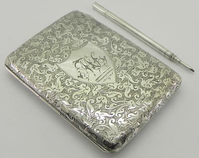 Victorian Solid Silver Card Case / Wallet & Pencil, 113gr, Chester 1901, By RB.