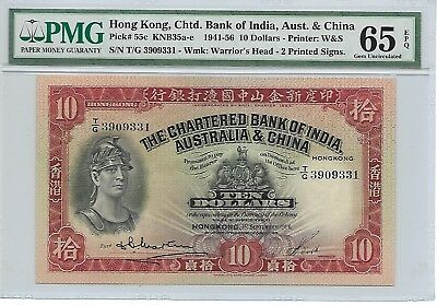 The Chartered Bank of India, Australia & China - $10, 1956. PMG 65EPQ. RARE.