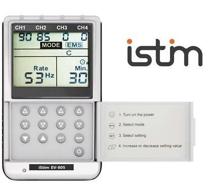iSTIM EV-805 TENS EMS 4 Channel Rechargeable Combo Machine Unit - Muscle...